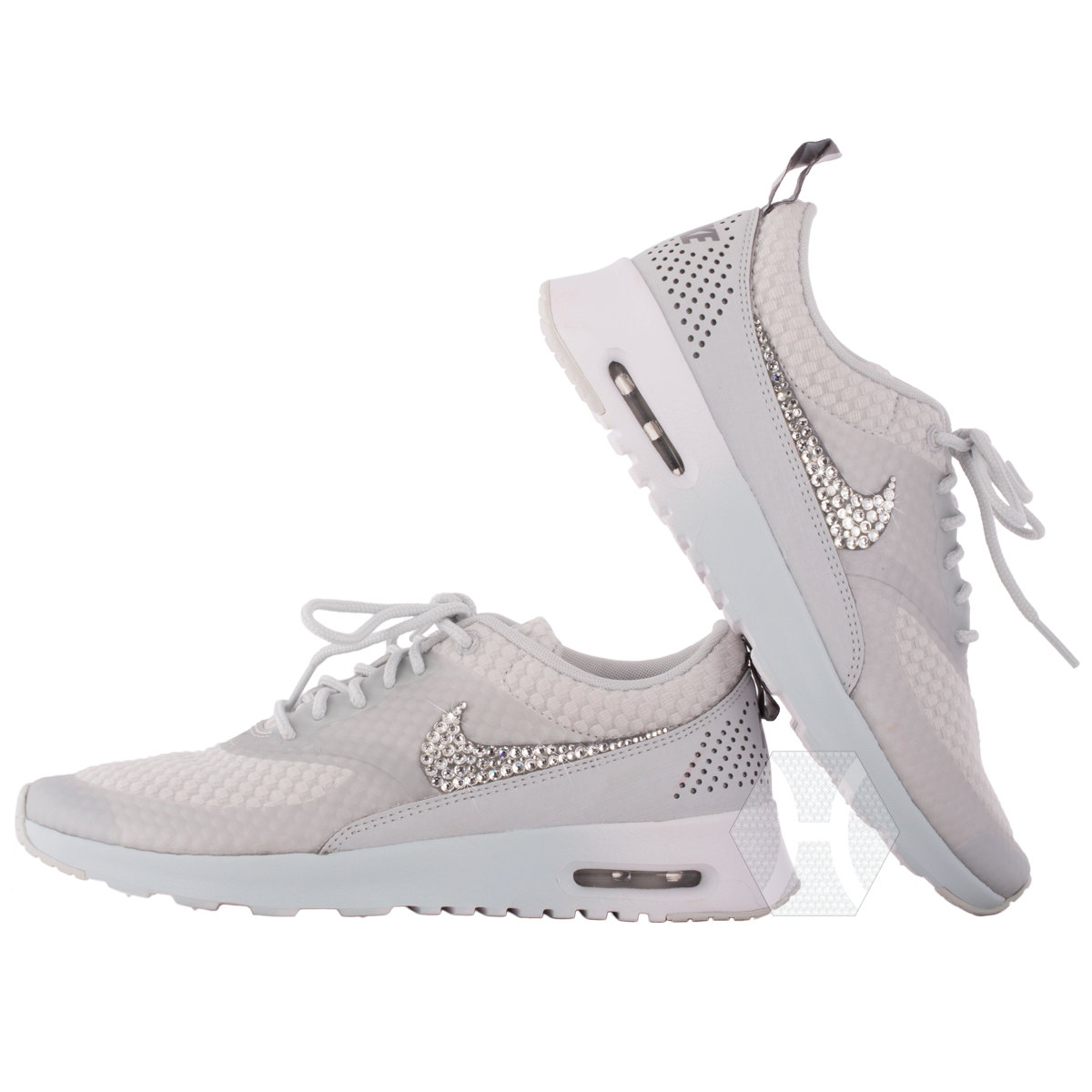 4475d21015 Women's Nike Air Max Thea Premium w/Swarovski Crystals details in Light  Base Grey/Cool Grey/Metallic