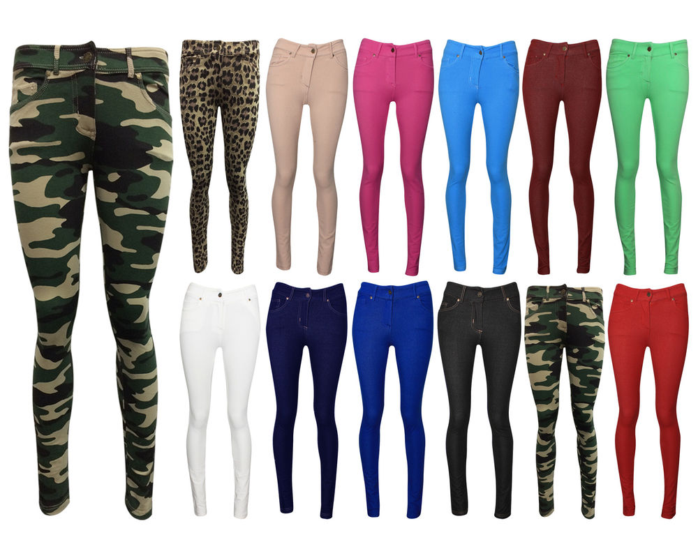 LADIES SKINNY FIT COLOURED STRETCHY JEANS WOMENS JEGGINGS TROUSERS ...