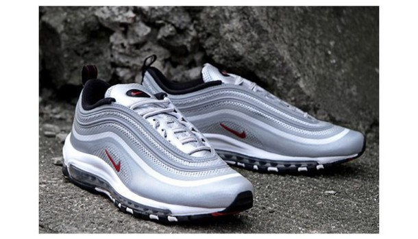 shoes, silvet bullet, black, white, air max, nike air max 97