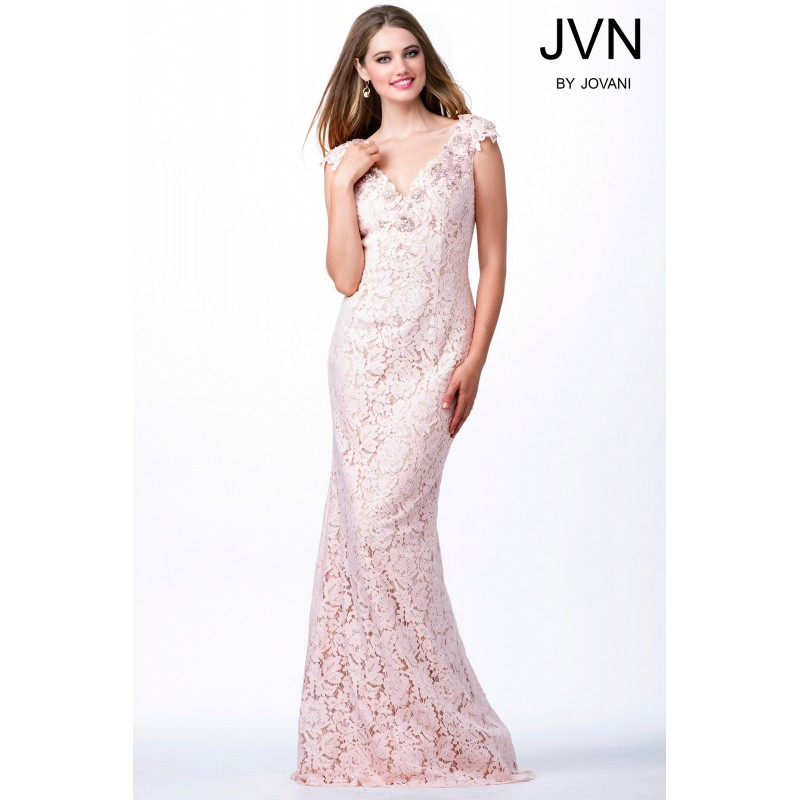 e10adf57e432 Jovani Cap Sleeves Beaded Lace Fitted Dress JVN33578 - Designer Wedding  Dresses|Compelling Evening Dresses|Colorful ...