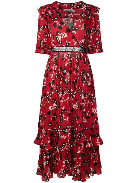 self-portrait dress maxi dress maxi women floral red
