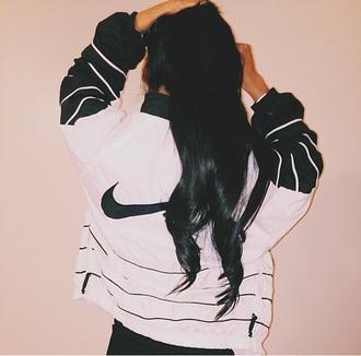jacket nike white black zip vintage athletic windbreaker urban nike jacket