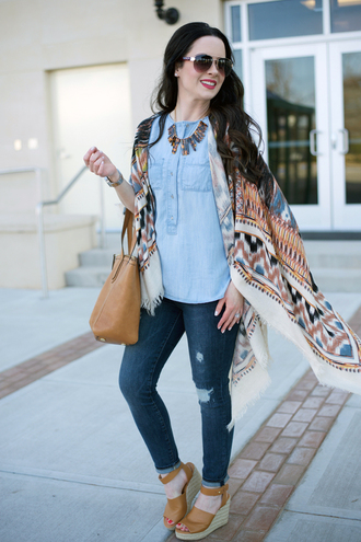the double take girls blogger jewels denim top aztec printed jacket statement necklace nude bag ripped jeans wedges