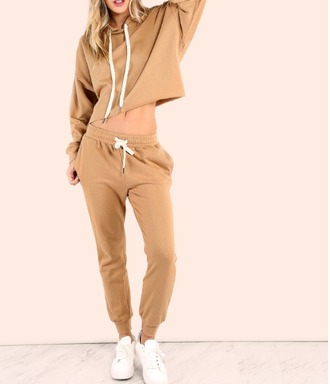nude crop crop tops cropped cropped hoodie hoodie joggers joggers pants two-piece matching set