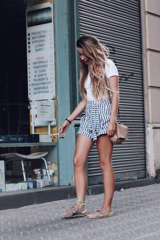 t-shirt blue shorts tumblr white t-shirt shorts stripes striped shorts sandals flat sandals bag nude bag shoes