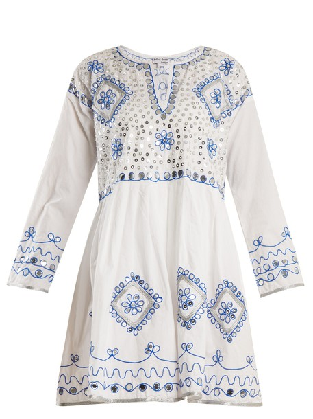 Juliet Dunn dress embroidered embellished cotton white