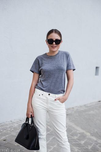 sunglasses tumblr black sunglasses denim jeans white jeans t-shirt grey t-shirt