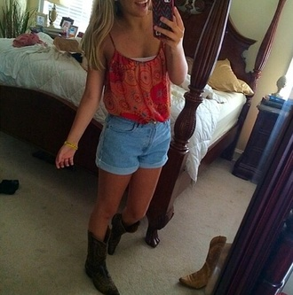 shorts blue high waisted shorts cuffed shorts tank top orange cute lovely spaghetti strap shoes brown boots country
