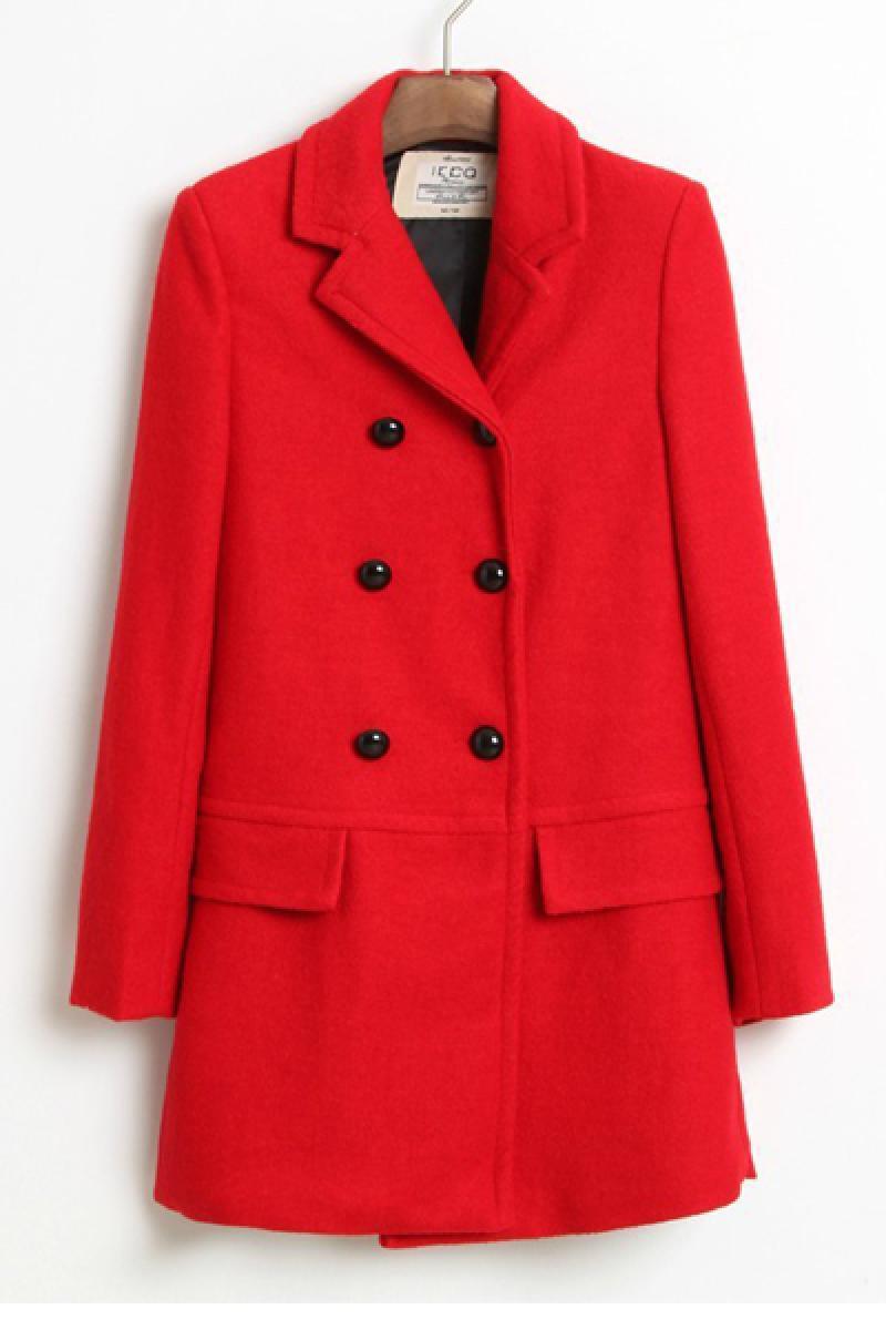 Woolen Women Lapel Multi-button Overcoat,Cheap in Wendybox.com