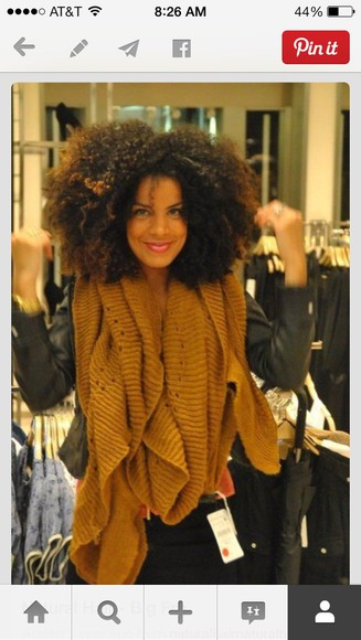 brown scarf natural hair wool knit