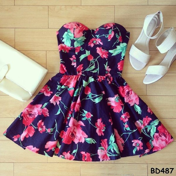 dress floral floral dress bustier dress aline cute dress dress