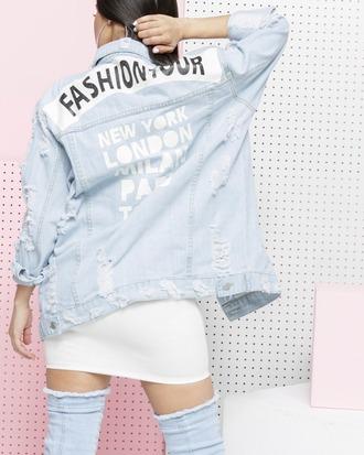 jacket denim denim jacket ripped distressed denim distressed denim jacket fashion fashion jacket oversized oversized jacket