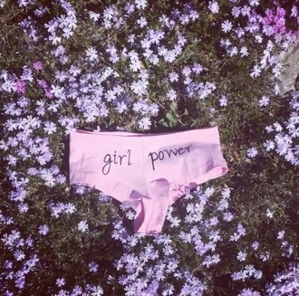 underwear girl power girl power bottoms undies pink baby pink boho summer spring nature cute feminism feminist boyshorts cheekies cheeky short panties fest hippie
