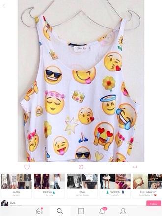 top emoji print cute shirt girly