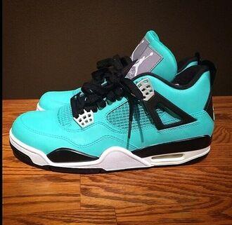 shoes jordans blue light blue turquoise green trainers teal black lace black and blue jordans dunkman retro 4 jordans