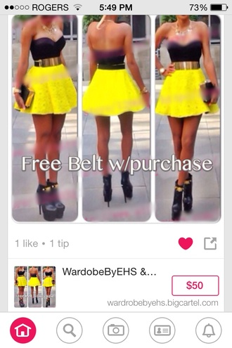 yellow and black with belt yellow lace belt
