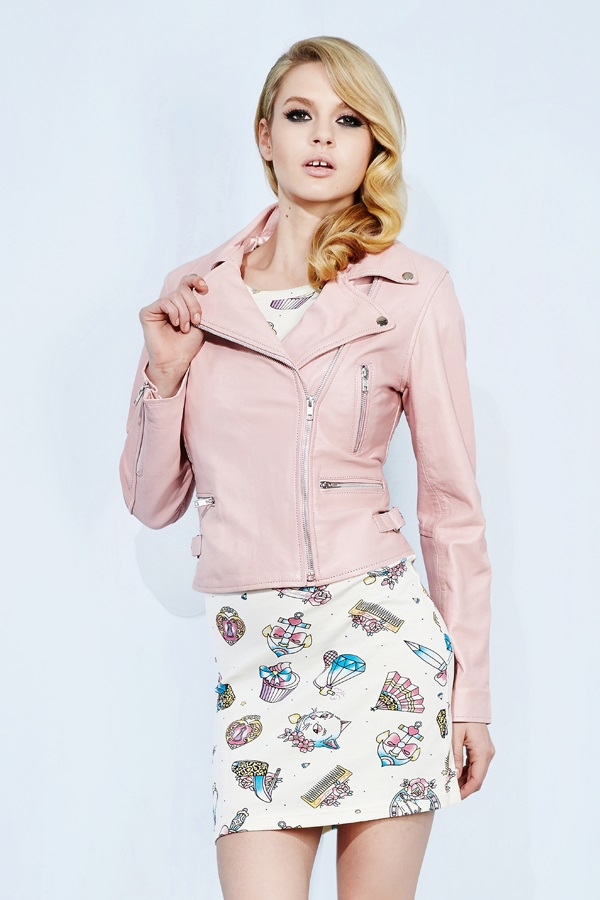 AND DOLLBABY CLASSIC LEATHER MOTO JACKET in PINK - New