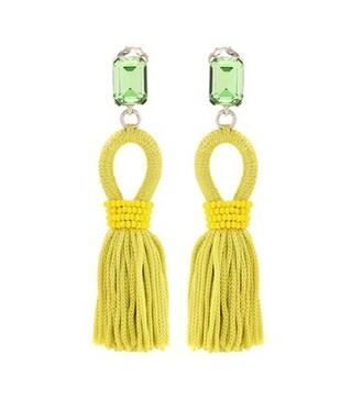 tassel embellished earrings yellow jewels