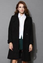chicwish,minimalist,elegance,wool-blend,black coat
