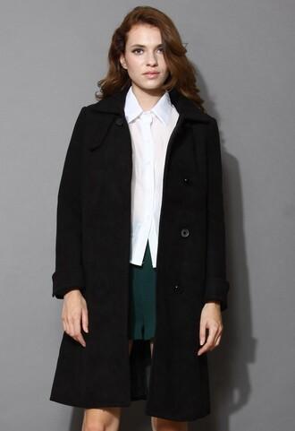 black coat chicwish minimalist elegance wool-blend