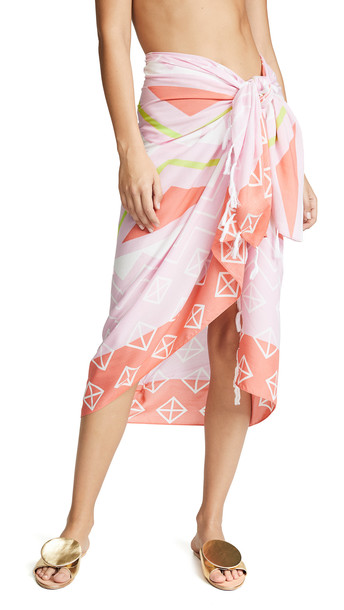 Plush Borneo Pareo Sarong in coral / pink