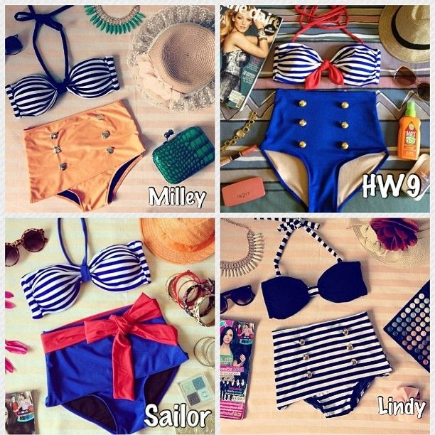 Vintage retro pin up high waist bikini nautical sailor swimwear swimsuit
