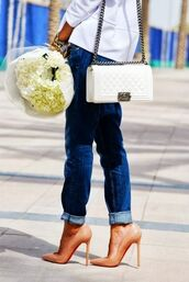 jeans,tumblr,blue jeans,denim,cuffed jeans,bag,white bag,chain bag,chanel,chanel bag,flowers,pumps,louboutin,high heel pumps,nude shoes,shoes