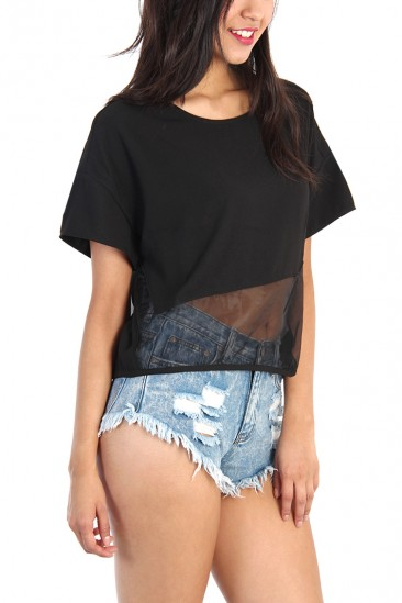 OMG Organza Contrast Top - Black