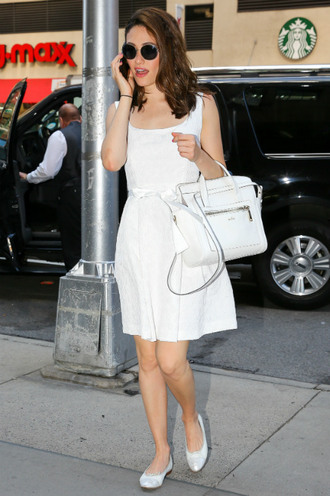 dress summer dress white dress emmy rossum flats ballet flats
