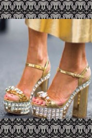 princess jewels gold shoes high heels chunky heels street style crystals metallic prom shoes