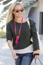 jewels,pink,reese witherspoon,tassel,pink necklace