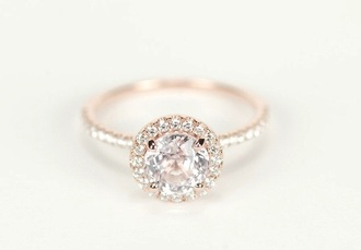 jewels diamonds rose gold ring o-ring tumblr engagement ring