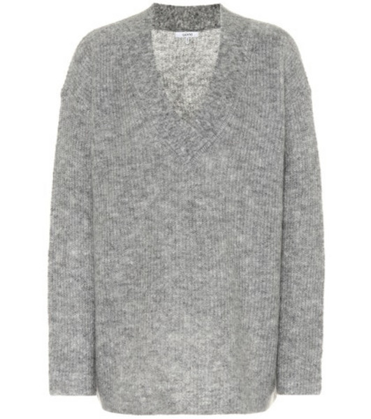 Ganni Wool and mohair-blend sweater in grey