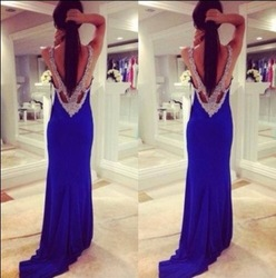 Online Shop Sexy Glitter Royal Blue Black Nude Back Open Back Long Prom Dress Backless Women With Silver Rhinestones Free Shipping|Aliexpress Mobile