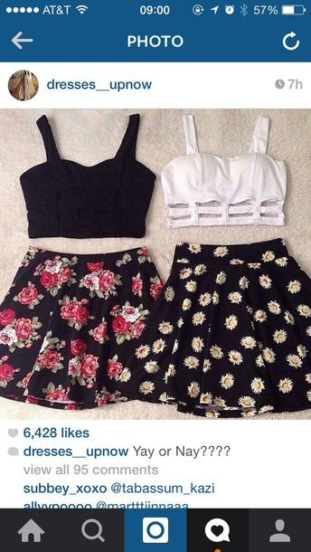 skirt floral skirt skater skirt cute skirt tank top