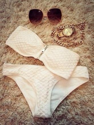swimwear white bikini sunglasses jeans strapless zip bikini