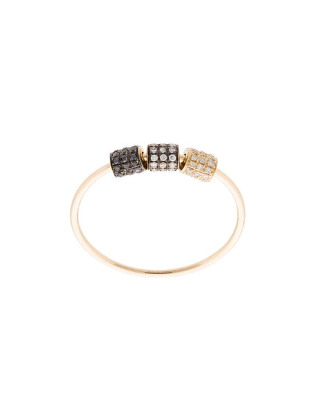 EF COLLECTION women triple ring gold grey metallic jewels