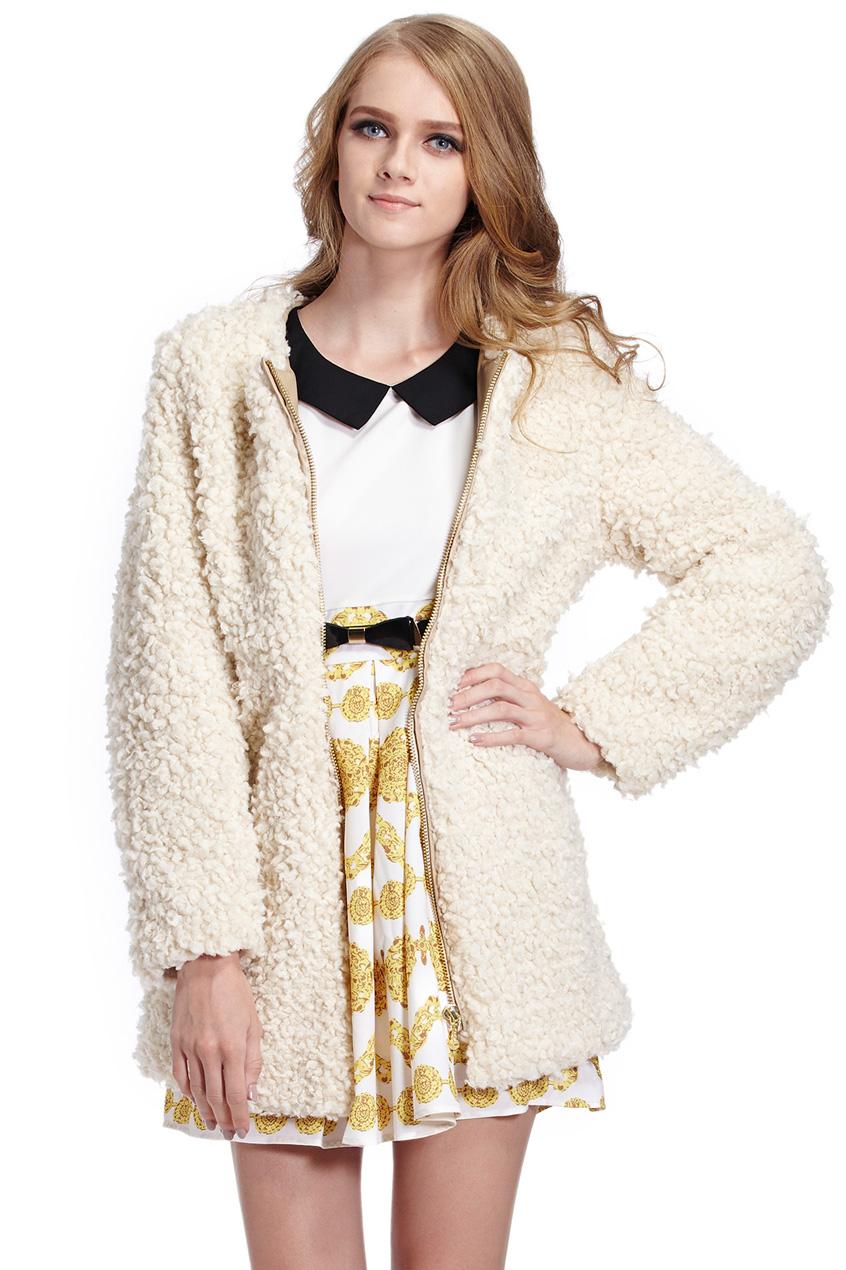 ROMWE | Warmful Golden Zipper Beige Fluffy Coat, The Latest Street Fashion