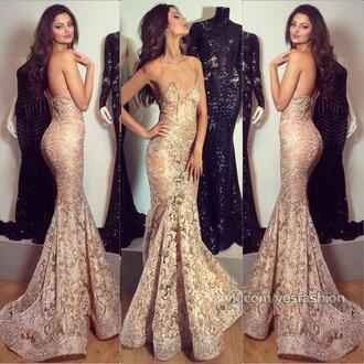 beige dress beige long dress glitter dress glitter long prom dress long strapless