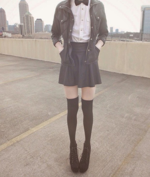 coat skirt black shoes white shirt jacket socks