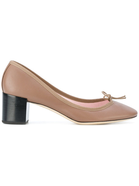 Repetto bow women pumps leather brown shoes