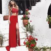 dress,longreddress,wavinghair,sexy,blond hair,prom dress,red dress,skinny/red,lace,wrist,two-piece,twopiecedress,sherri hill,jovani,lafemme dresses,dessy,red prom dress,long prom dress,backless prom dress,sexy prom dress,sequin prom dress,sexy high slit dress,evening dress,long evening dress,evening outfits,formal dress,formal event outfit,sexy evening dresses,one shoulder,long red dress,two piece dress set,two piece prom dresses,2 piece skirt set,2 piece prom dress