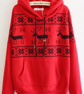 christmas sweater hoodie sweater red deer
