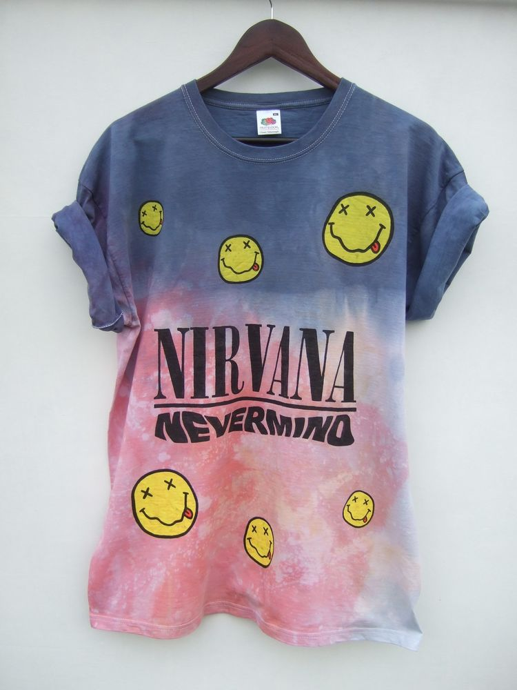 Dip tie dye ombre nirvana nevermind grunge t shirt top hipster