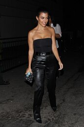 top,all black everything,strapless,strapless top,kourtney kardashian,kardashians,pants