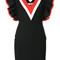 Msgm - fitted v-neck frill dress - women - cotton/polyamide/polyester/spandex/elastane - 42, black, cotton/polyamide/polyester/spandex/elastane