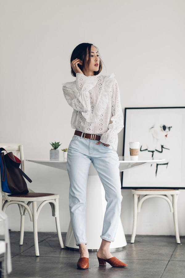 the chriselle factor blogger top jeans belt shoes bag white blouse blouse bell sleeves mules spring outfits