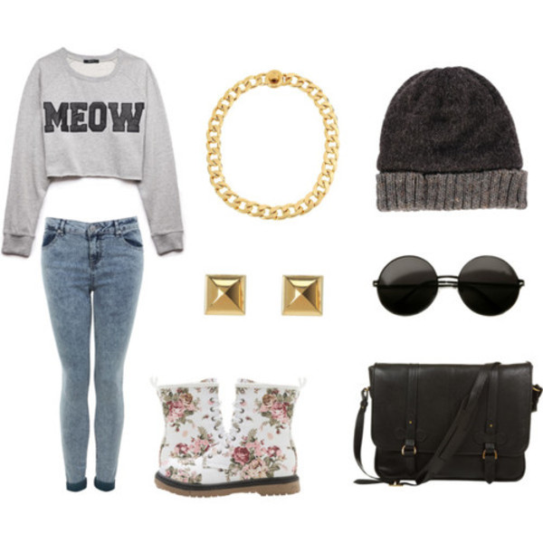 top meow crop tops jeans bag jewels
