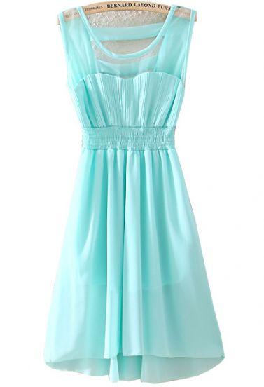 Blue Sleeveless Contrast Mesh Yoke Pleated Dress