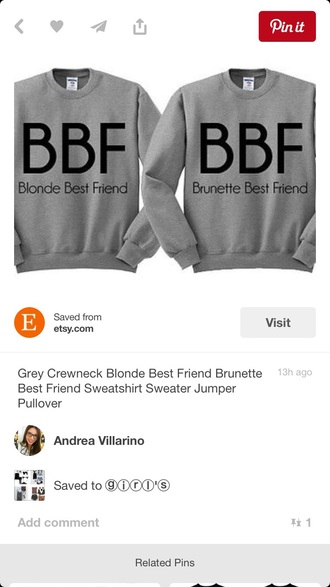 sweater sweatshirt bff brunette blonde hair cute black grey hoodie grey grunge cool funny matching set oversized awqw hoodie